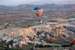 Hot Air Baloon over Cappadocia at sunrise. Royalty Free Stock Images
