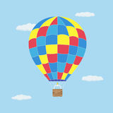 Hot air baloon. Picture of hot air balloon flying in the sky, flat style illustration Royalty Free Stock Photos