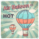 Hot air baloon retro poster Royalty Free Stock Image
