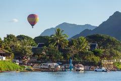 Hot air baloon in sky in Vang Vieng, Laos. Vang Vieng, Laos - January 19, 2017: Hot air baloon in sky in Vang Vieng, Laos Royalty Free Stock Photo