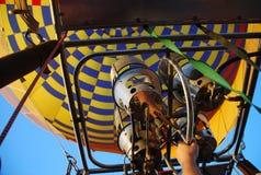 Hot air balooning. Balooning right after take off Royalty Free Stock Photos