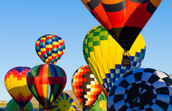 Hot air baloons in flight durning festival Royalty Free Stock Photography