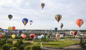 Hot air baloons over Kaunas, Lithuania. Over 100 hot air ballons rose up royalty free stock photography