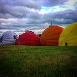 Air baloons. Hot air baloons raising in Vilnius, Lithuania stock photos
