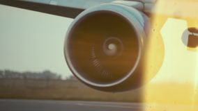 Hot air behind the aircraft engine stock video footage