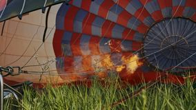 Hot air burning to the air balloon. During the flight stock video