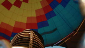 Hot air burning to the air balloon stock footage