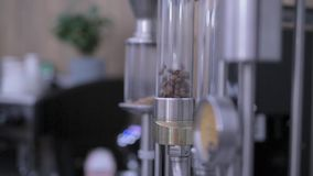 Hot air coffee bean roasting. Clip of coffee beans being roasted in a personal fluid bed roaster. coffee bean roasting technology Hot Air - an alternative stock video footage