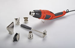 Hot air gun.with accessories Royalty Free Stock Photos