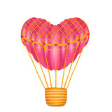 Hot air heart shaped balloon on white Royalty Free Stock Images