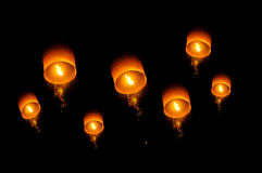 Hot air Thai balloon. Beautiful balloon at night in Chiangmai Thailand Royalty Free Stock Photos