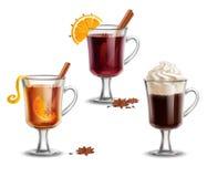 Hot alcohol drinks. Mulled wine, grog, irish сoffee Royalty Free Stock Photo