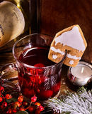Hot alcohol punch with ginger pastry decorated mug. Royalty Free Stock Image