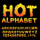 Hot Alphabet. Flame font. Fiery letters. Burning ABC. Fire typog Royalty Free Stock Image