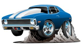 Classic American Muscle Car Cartoon Vector Illustration. Hot American 1970's style muscle car cartoon. Bold blue with white stripes, aggressive stance vector illustration