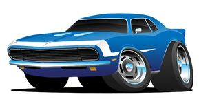 Classic Sixties Style American Muscle Car Hot Rod Cartoon Vector Illustration. Hot American 1960's style muscle car cartoon. Gorgeous blue with white royalty free illustration