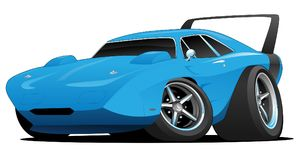 Classic American Musclecar Hot Rod. Hot American muscle car cartoon. bright blue, aggressive stance, low profile, big tires, chrome wheels and huge rear spoiler stock illustration