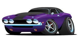 Classic Muscle Car Cartoon Illustration royalty free illustration