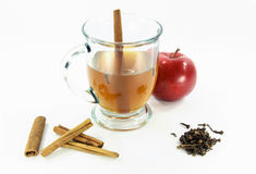 Hot apple cider in glass over white 02. Stock Photo