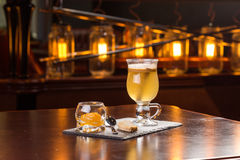 Hot apple cider. Served with jam and cookie on the bar Stock Images