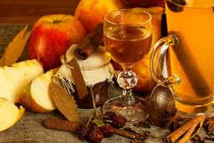 Hot apple drink. Traditional drink for winter evenings. Hot apple drink. Traditional drink for winter evenings Stock Image