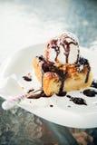 Hot apple pie with vanilla ice-cream Stock Photo