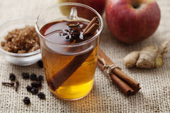 Hot apple punch. With cinnamon royalty free stock photo