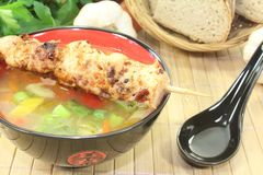 Hot Asian Chicken consomme. In a bowl Stock Image