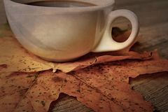 Hot autumn black espresso coffee on a wooden table and autumn m Stock Photos