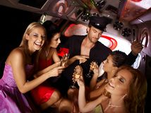 Hot bachelorette party in limo Stock Images