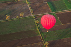 Hot Balloon above the field Royalty Free Stock Image
