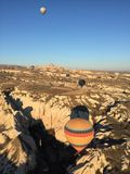 Hot balloon in Cappadocia. Beautiful view while on the hot balloon Stock Images