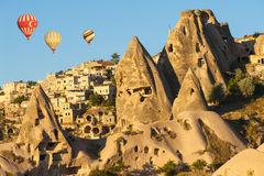 Hot Balloons over Uchisar Stock Photo