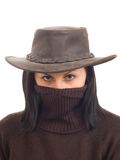Hot bandit girl in hat and with hidden face Royalty Free Stock Photo