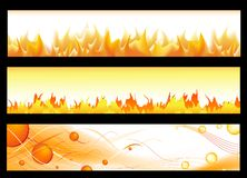 Hot banners. Hot web banners with flame and copyspace for your text ir orange Royalty Free Stock Photo