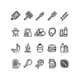 Hot barbecue and grill line icons. Bbq outdoor kitchen vector isolated symbols. Food sausage and burger, barbeque picnic icon linear illustration Royalty Free Stock Images