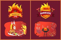 Hot Barbecue Tasty Party Set Vector Illustration. Hot barbecue tasty party set with emblems. Sausages hamburger on plate, satay and brochettes with vegetables vector illustration