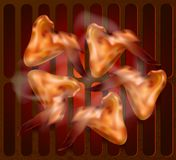 Hot barbeque chicken wings on hot grill. Vector illustration. Template for restaurant or cafe menu vector illustration
