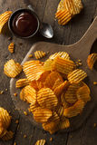 Hot Barbeque Potato Chips Stock Photo