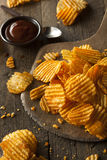 Hot Barbeque Potato Chips Stock Images