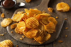 Hot Barbeque Potato Chips Stock Photography