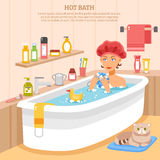 Hot Bath Poster. With woman in soapy water cat on mat and hygiene items vector illustration vector illustration