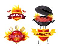 Hot BBQ Barbecue Tasty Set Vector Illustration. Hot BBQ barbecue tasty set icons isolated vector. Brazier grill with roasting cooking sausages. Frankfurters on stock illustration