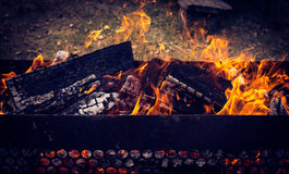 Hot BBQ facilities surrounded by nature Royalty Free Stock Images