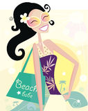 Hot beach chic. Beautiful diva with shopping bag on the beach. Vector Illustration Stock Photography