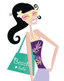 Hot beach chic. Sexy beach babe with shopping bag. Vector Illustration Stock Image