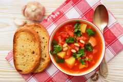 Hot bean soup with bacon and vegetables. Hot bean soup with bacon and vegetables Royalty Free Stock Image