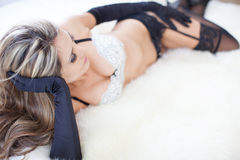 Hot Beautiful woman wearing black gloves Royalty Free Stock Photo
