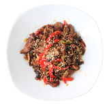 Hot beef with mushrooms and sesame Royalty Free Stock Photos