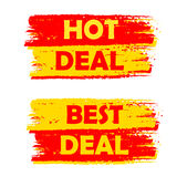 Hot and best deal, yellow and red drawn labels. Hot and best deal banners - text in yellow and red drawn labels, business commerce shopping concept Stock Images